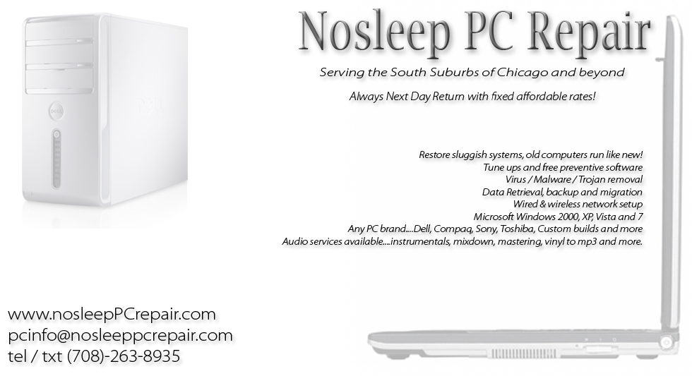 Lovely pc repair business cards photos business card ideas nosleep pc computer repair contact and rates chicago south reheart Image collections
